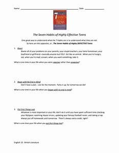 Seven Habits Of Highly Effective Teens Worksheet Worksheet