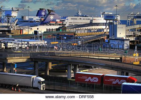 A general view of lorries queuing & disembarking at the ...