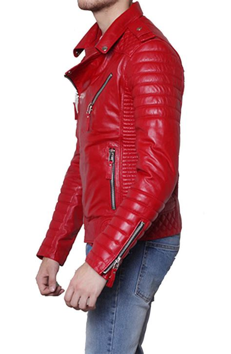 padded leather motorcycle jacket men 39 s padded sleeve red leather motorcycle jacket