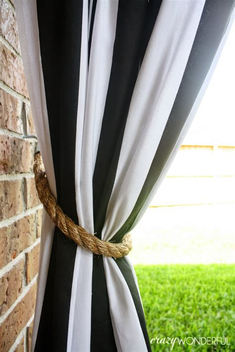 wonderful patio curtains diy rope tieback