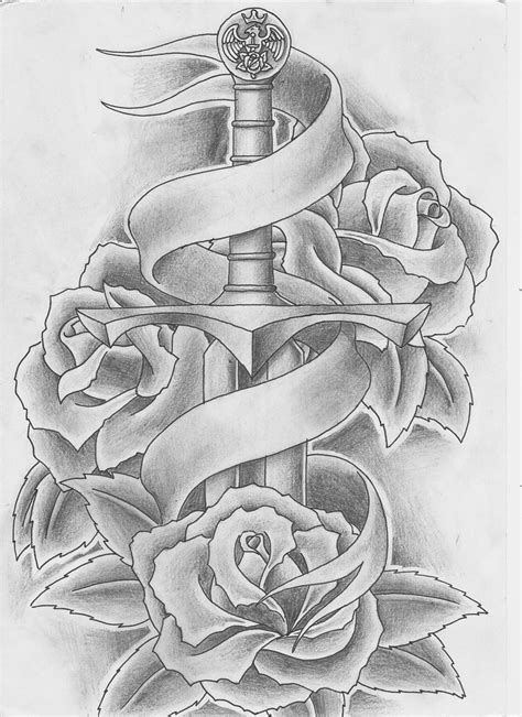 Sword and Roses Tattoo by Keepermilio on DeviantArt