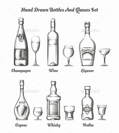 Alcohol Bottles Glasses Different Types Vector Bottle