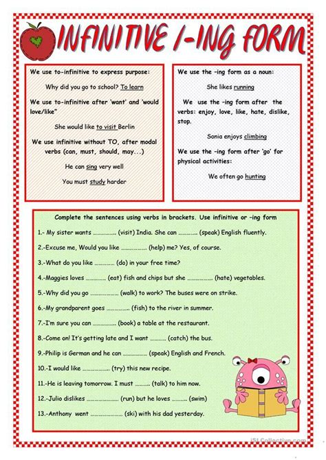 infinitive ing form english words learn english