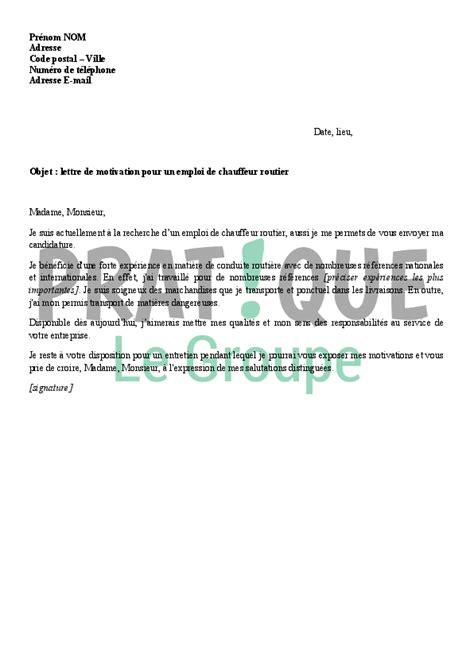 exemple lettre de motivation transport routier - Modele De Lettre De Motivation Chauffeur Routier