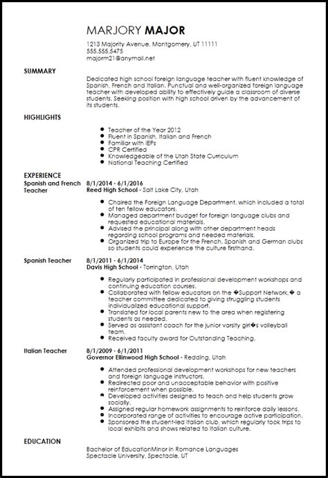 Resume Language by Free Professional Foreign Language Resume Template