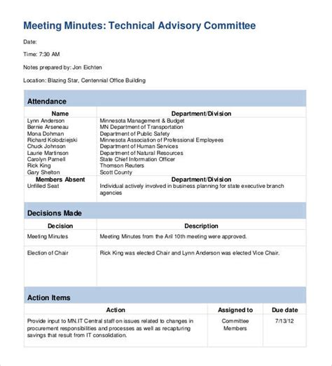 meeting notes template with items 42 free sle meeting minutes templates sle templates