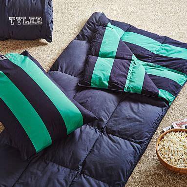 navy bright green rugby stripe sleeping bag pillowcase boys sleeping bags pottery barn teen