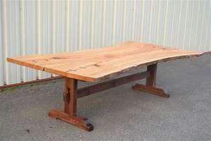 Custom Live Edge Sycamore Dining Table With Trestle Base
