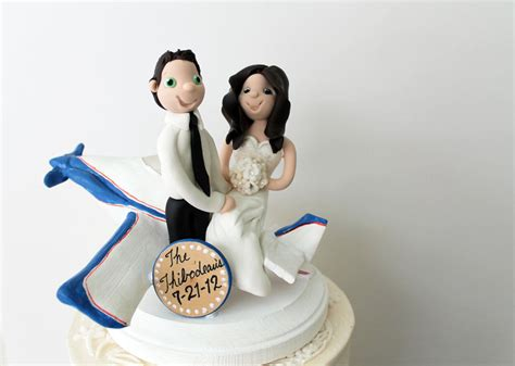 Custom Airplane Wedding Cake Topper Bride And Groom With
