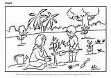Planting Tree Draw Scene Drawing Step Plantation Scenes Learn Tutorials Tutorial sketch template