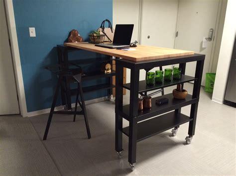 table cuisine ikea bois high top gerton slab kitchen island ikea hackers