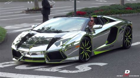 chrome lamborghini aventador roadster start  sound youtube