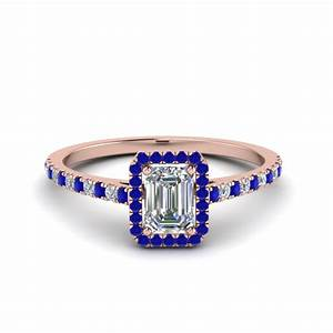 Emerald Cut French Pave Halo Diamond Ring With Blue ...
