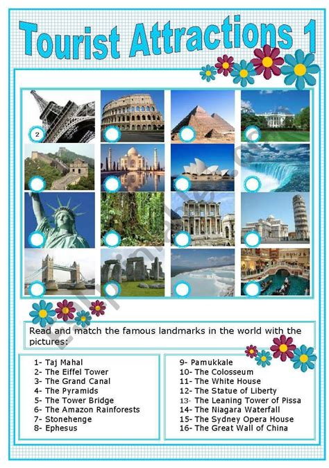 tourist attractions  worksheet english  tourism