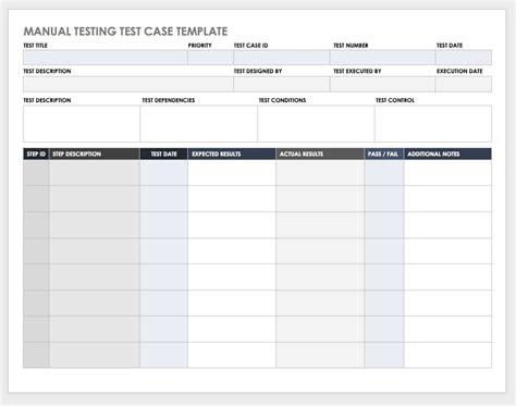 test case templates smartsheet