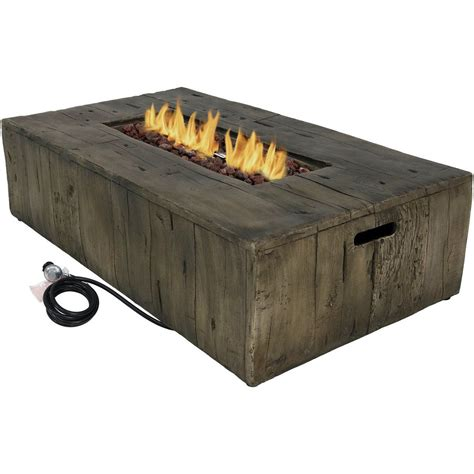 Gas fire pit tables come in various sizes, configurations, and can provide up to 50,000 btu's of heat. Sunnydaze Rustic Faux Wood Outdoor Propane Gas Fire Pit Coffee Table, 48-Inch | Fire pit coffee ...