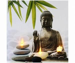 Grande Statue Bouddha Pas Cher : tableau toile cadre led zen statue bouddha bougie galet bambou blanc 6300 ~ Teatrodelosmanantiales.com Idées de Décoration