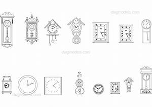 Wall Clocks DWG Free CAD Blocks Download