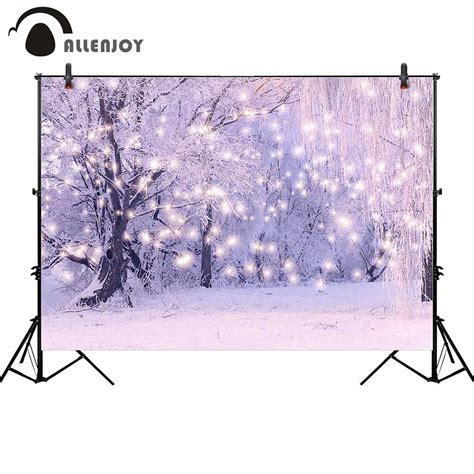 Allenjoy background for photo winter forest snowflakes