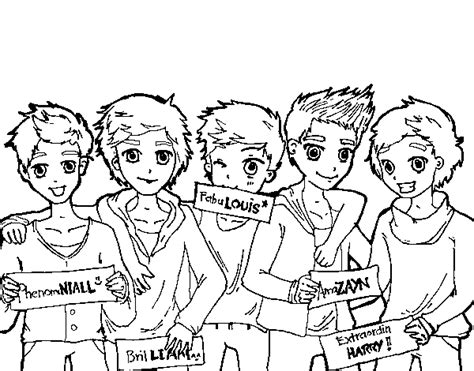 The Guys Of One Direction Coloring Page