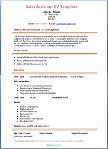 sales assistant cv example With sales cv template uk