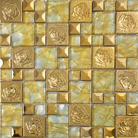 gold 304 stainless steel flower patterns mosaic glass wall metal backsplash wall stickers