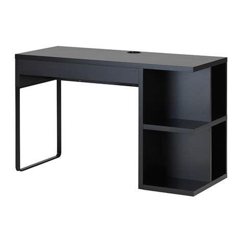 desk l with outlet and organizer micke desk with integrated storage black brown ikea
