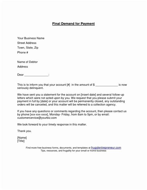 final demand  payment letter template examples letter