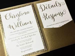 glitter wedding invitation pocketfold wedding invitation With wedding invitations with gold wording