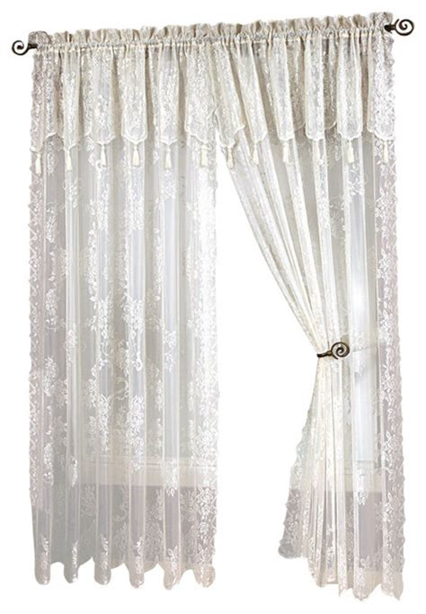 lace curtain panel with attached valance with