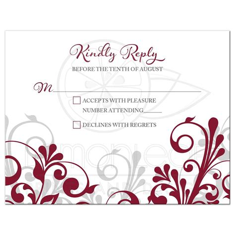 Burgundy Gray Abstract Floral Wedding RSVP Card
