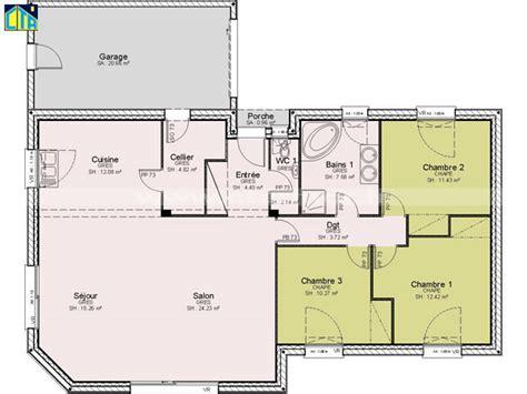 plan plain pied 2 chambres maison individuelle c t a de plain pied avec 3 chambres