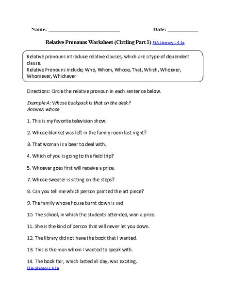 relative pronouns worksheets for 4th grade relative pronouns worksheet 4th grade worksheets for all