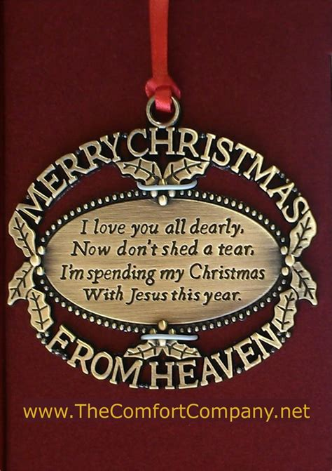 gold plated merry christmas from heaven ornament