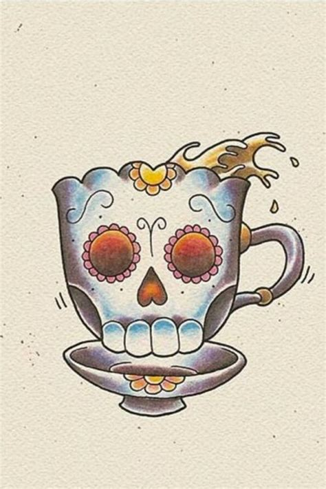 Sugar Skull Tea Cup Art Tattoo