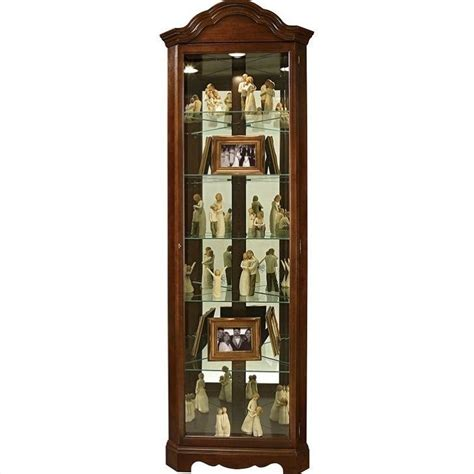 Furniture Curio Cabinet by Howard Miller Murphy Corner Curio Cabinet In Cherry