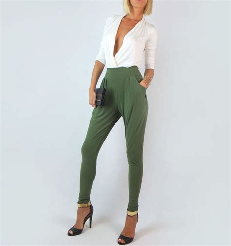 Olive green high waist harem side pockets loose skinny baggy dressy pants l | Olives Camps and ...