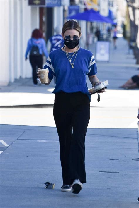 Lucy Hale in a Blue Tee Stops at Starbucks in Studio City ...