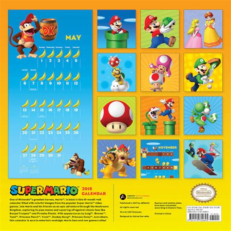 Calendario Kart 2019 Super Mario Bros Calendar 2018 Nintendo Official Uk Store