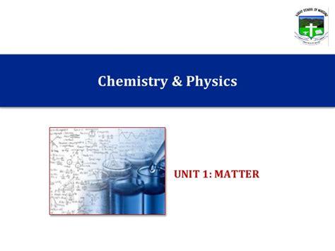 Chemphys Unit 1 Matter
