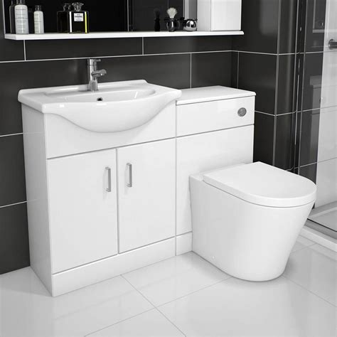 sienna arc white gloss combination vanity unit small