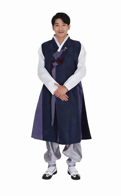 Hanbok Male Traditional Female Korea Costumes Navy