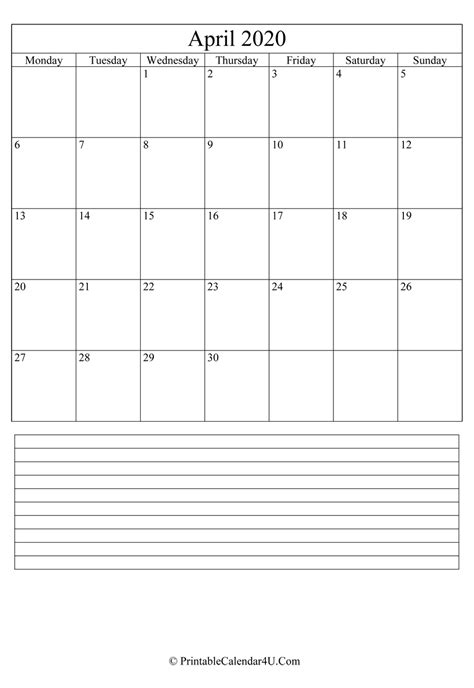 printable april calendar   notes portrait
