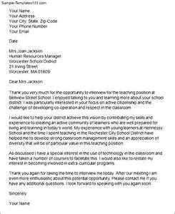 Thank You Letter After Interview Sample