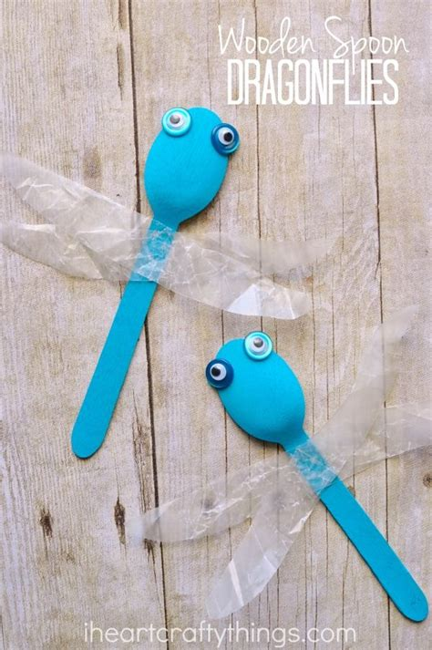 simple wooden spoon dragonfly craft summer crafts