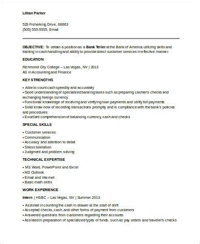 bank teller resume sles with no experience