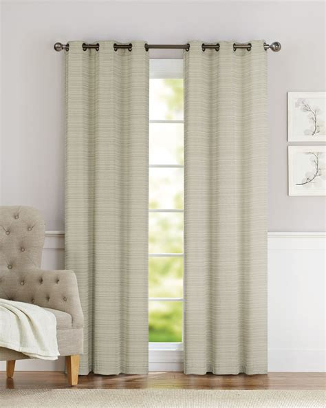 pair of clyde taupe window curtain panels w grommets