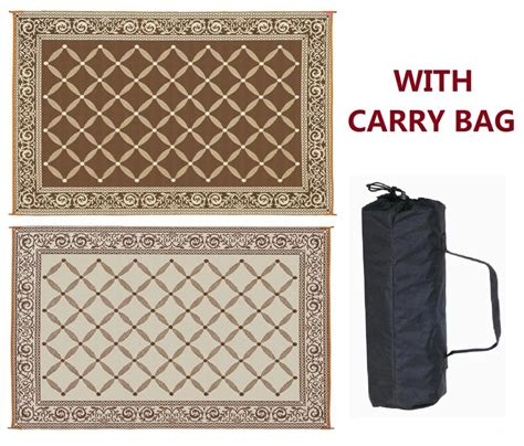 reversible outdoor patio mats 6 x9 reversible mat for the rv patio or cing brown