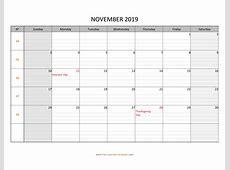 November 2019 Calendar Free Printable with grid lines