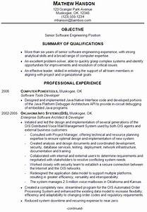 Resume sample for a senior software engineer susan for Sample resume for software engineer with experience in java